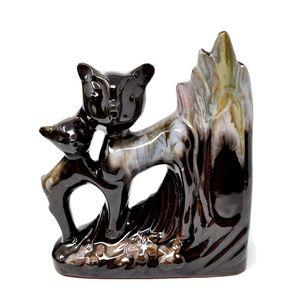 Vintage Deer and Fawn Figural Vase
